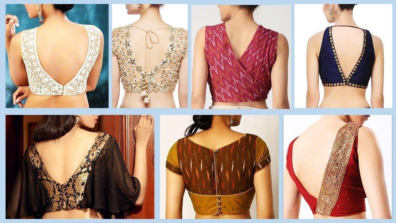 Modern Back V Neck Saree Blouse Designs 2019 2020 Saree Blouse Designs Blouse Neck Designs Blouse Design Models