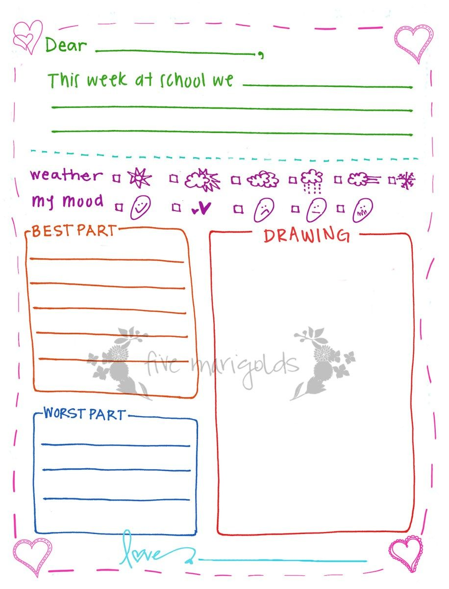 letter to grandma printable template girl five marigolds