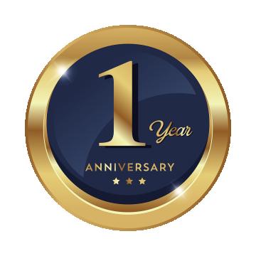 記念日 1周年記念バッジ 金 銀 ロゴ アイコン1年歳の祝賀 会社 フェスティバル スター 円 リボンのギフト黄金 青 シールドを保護する Badge Icon Badge Logo Logo Icons