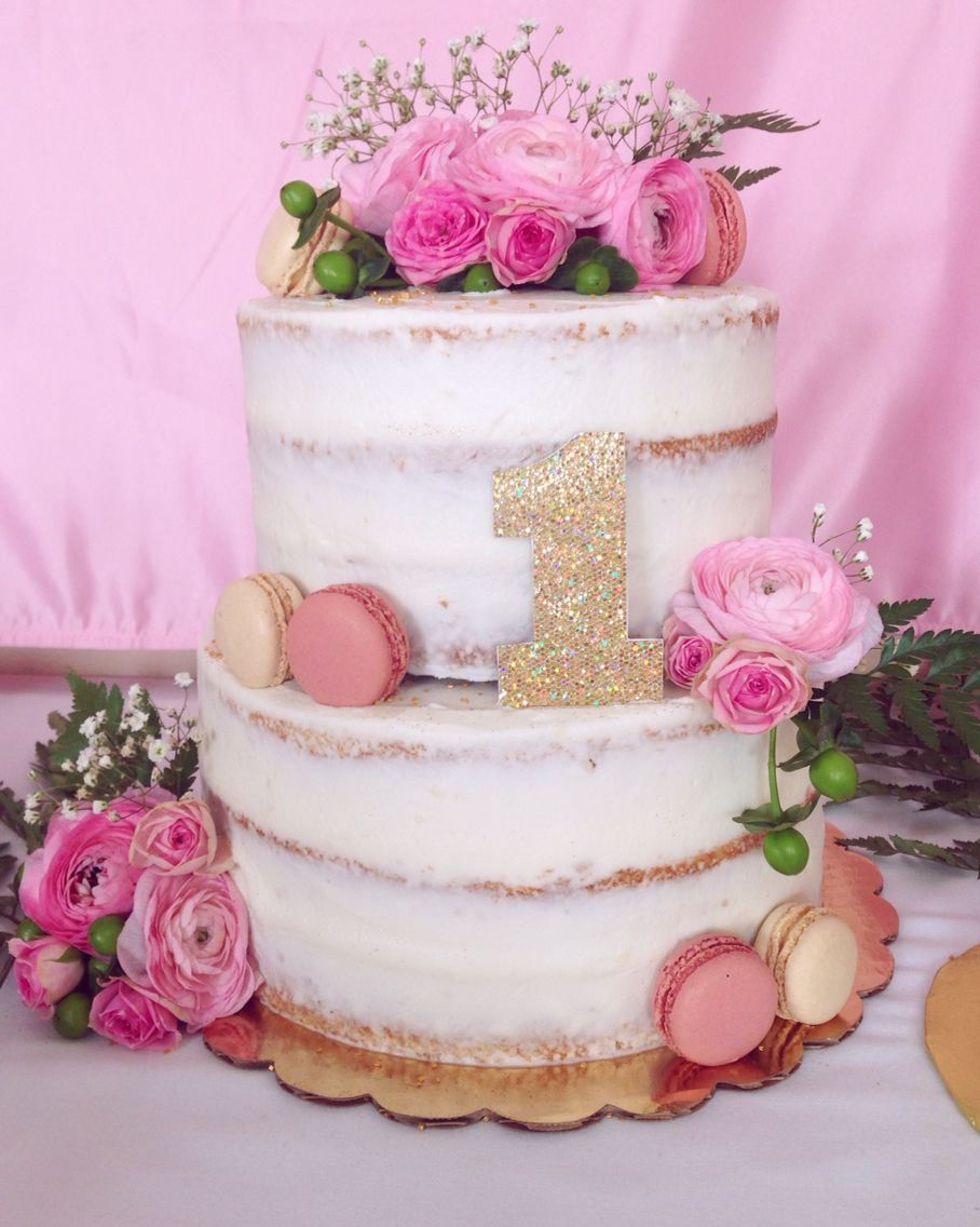 Semi-Naked Cake With Pink Flowers And Macarons For A First -1015
