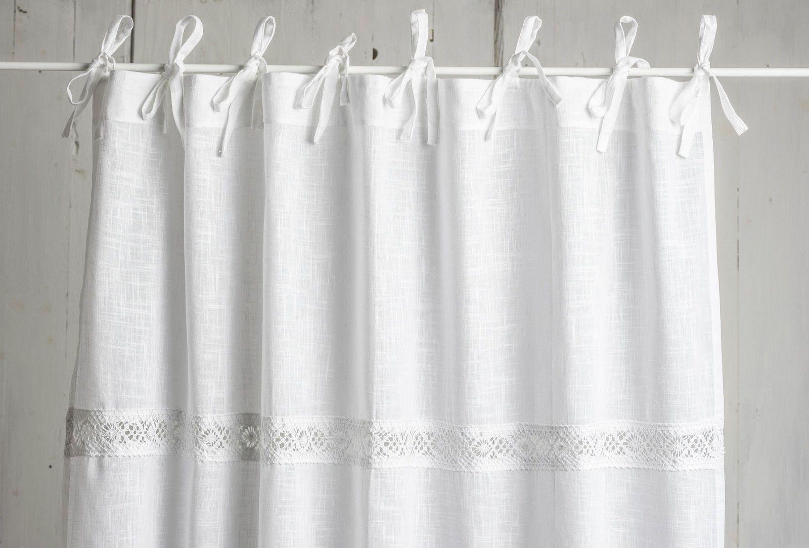 Julia Weiss Vorhange 2x 120x250cm Gardinen Landhaus Shabby Franske Curtain Chic Ebay Gardinen Weisse Vorhange Vorhange