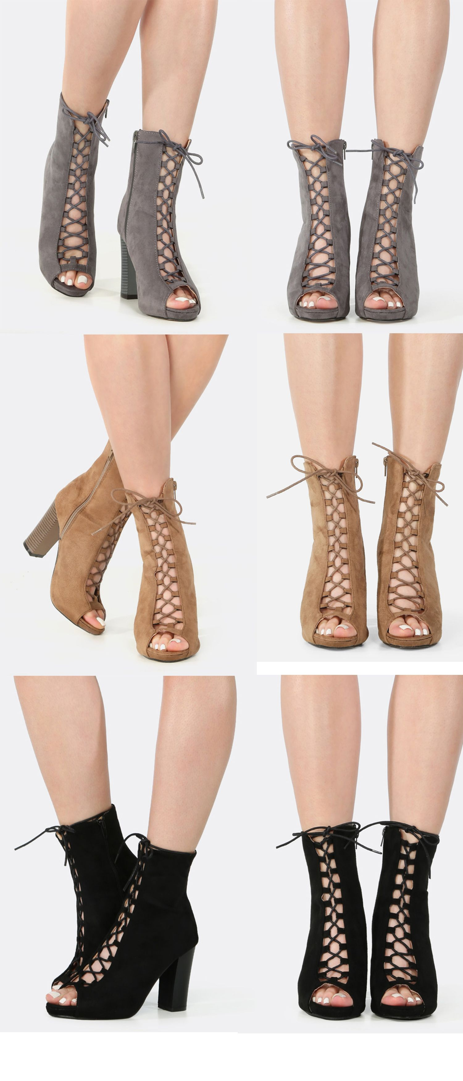 18829e9792 Put a surprising spin on your everyday casual ensemble with the Peep Toe  Lace Up Chunky Heel Booties! This chic ankle boot features an open toe, faux  suede ...