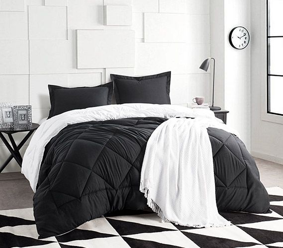 Black White Reversible Twin Xl Comforter In 2020 Black Bedding