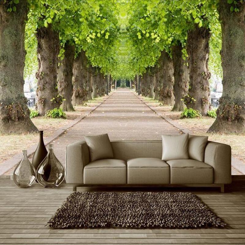 3D Effect Forest Road Wallpaper Mural for Living Room