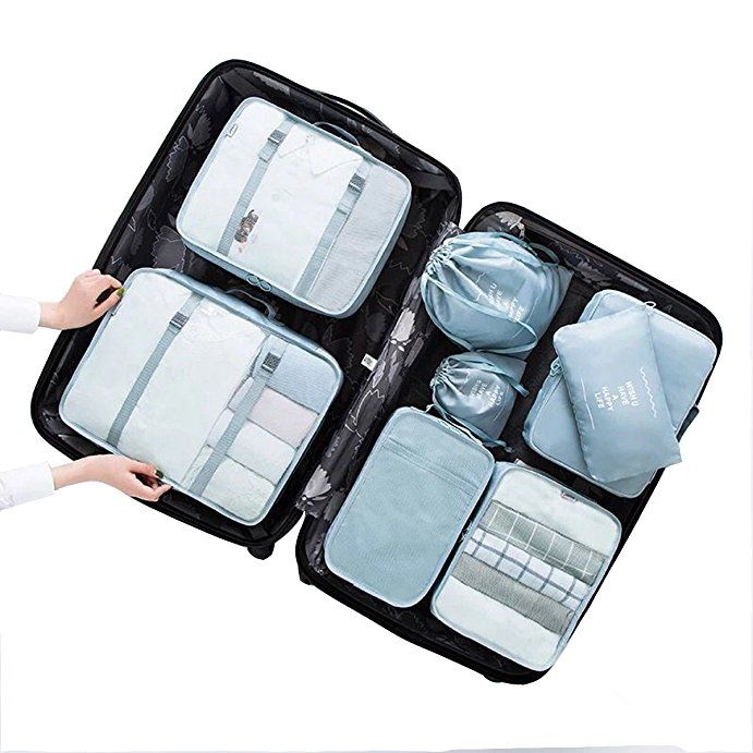 af795fd780ca Simus Fadish- 8 Set Lightweight Packing Cubes Travel Luggage Packing ...