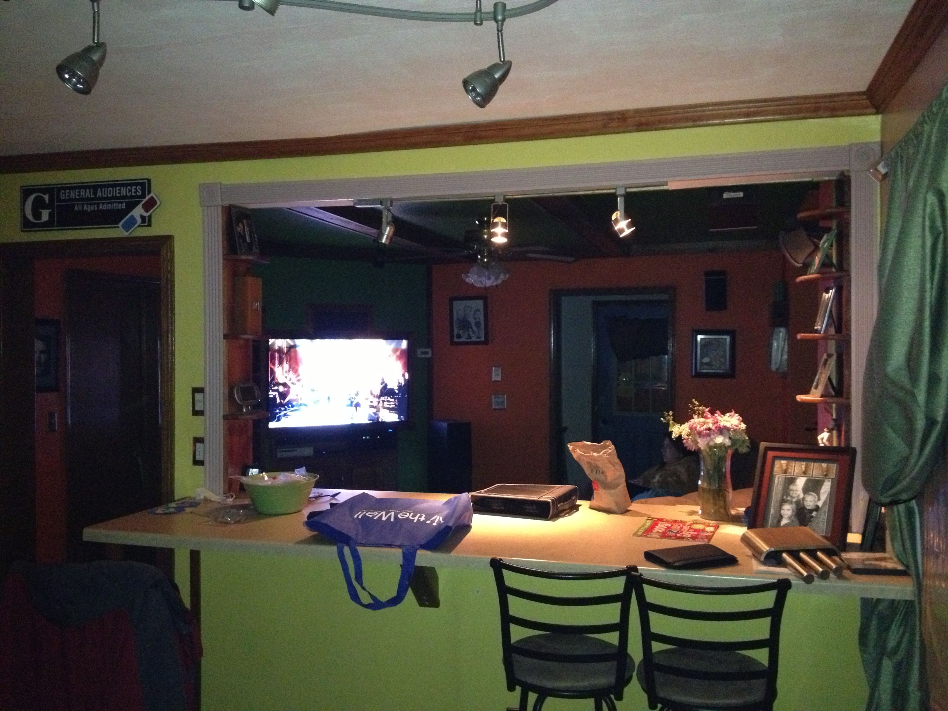 Opened Up Wall Between Dinning Room Kitchen And The Living Room Placed A Breakfast Bar In Built