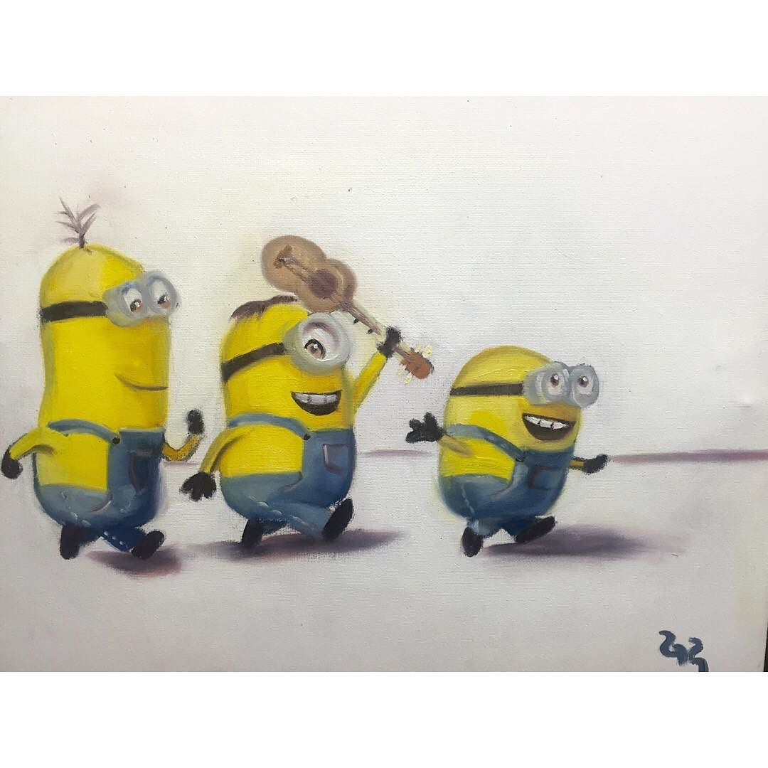 Posted by popular demand ( jk just one person) a quick remake of the Minions. I probably could've worked on it more but it was a rushed commission soooo yeah. Enjoy. #minions #painting #oilpainting #art #artist #artwork #artists_community #artsy #children #sketch by thedisturbanceofart