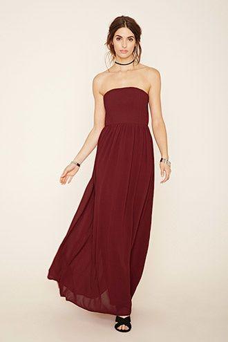 Red strapless chiffon maxi dress