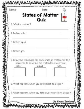 States Of Matter Assessments Matter Science States Of Matter Worksheet States Of Matter