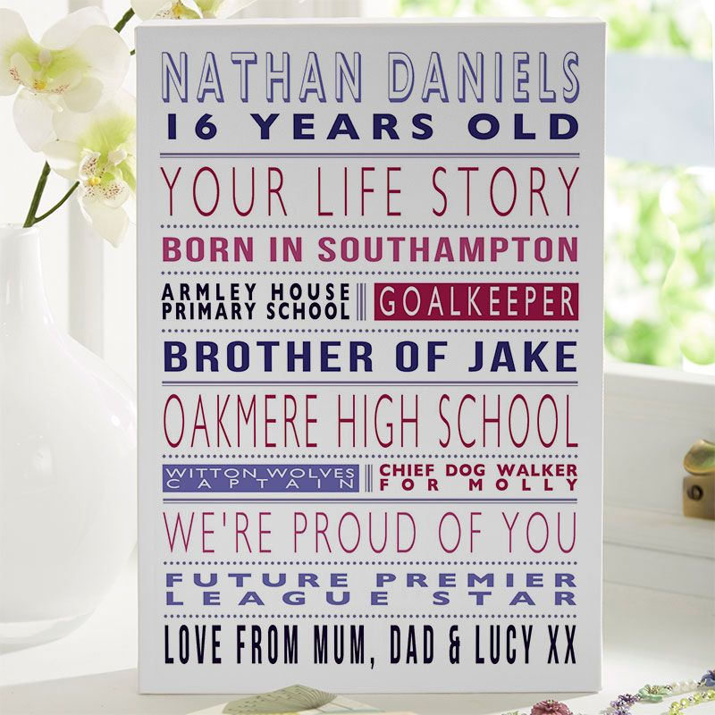 Personalised Life Story For 16th Birthday Gift For Boys