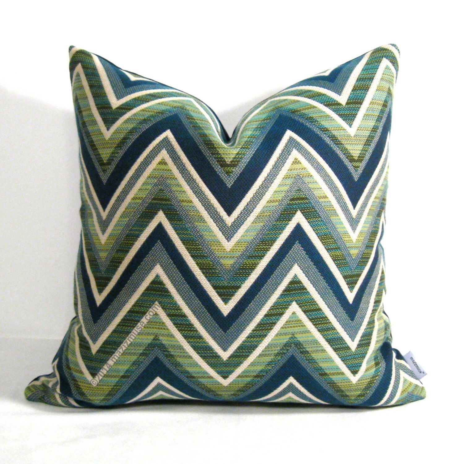 Jade Green Outdoor Pillow Cover Olive Green Blue Chevron Pillow