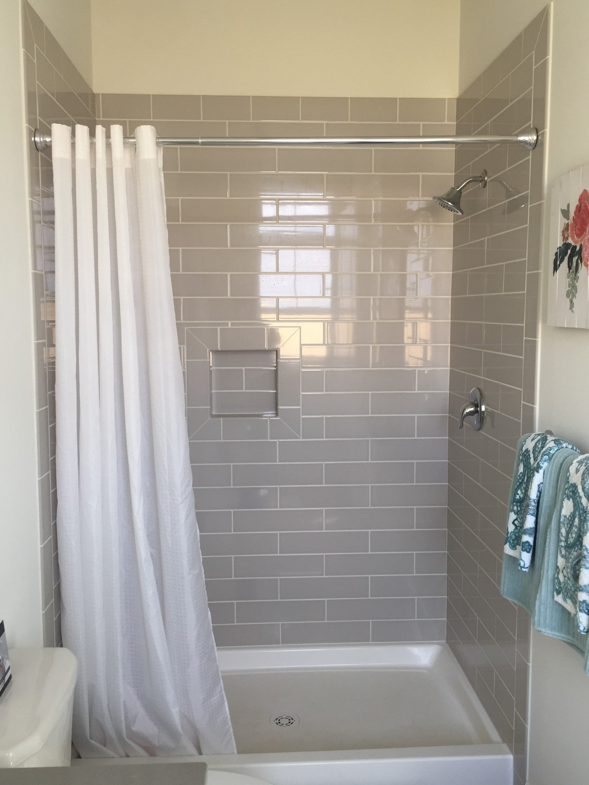 Grey And White Guest Bathroom 4x16 Warm Grey Tiled Walk In Shower Modern Room Walk In Shower Small Remodel