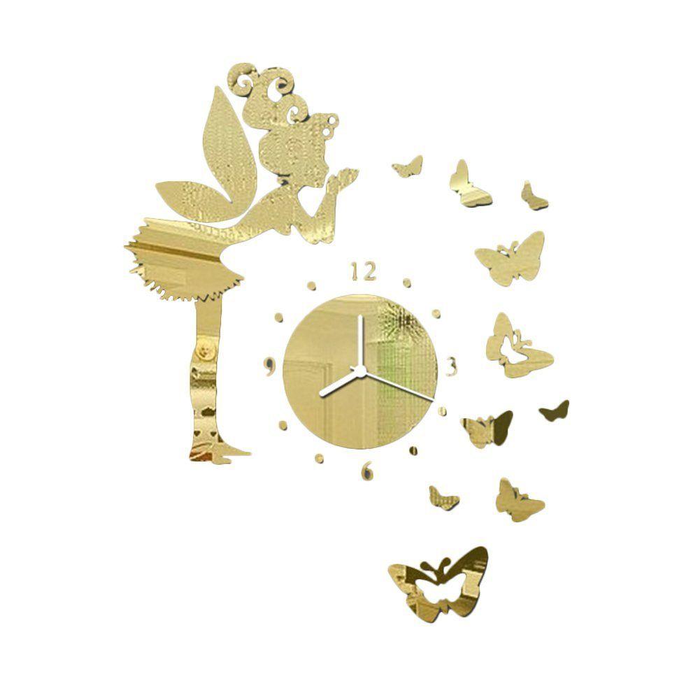 Leezo Butterfly Fairy Clock DIY 3D Art Mirror Wall Clock Sticker ...