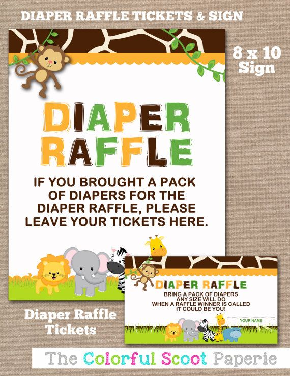 Instant Download Jungle Diaper Raffle Ticket By Thecolorfulscoot