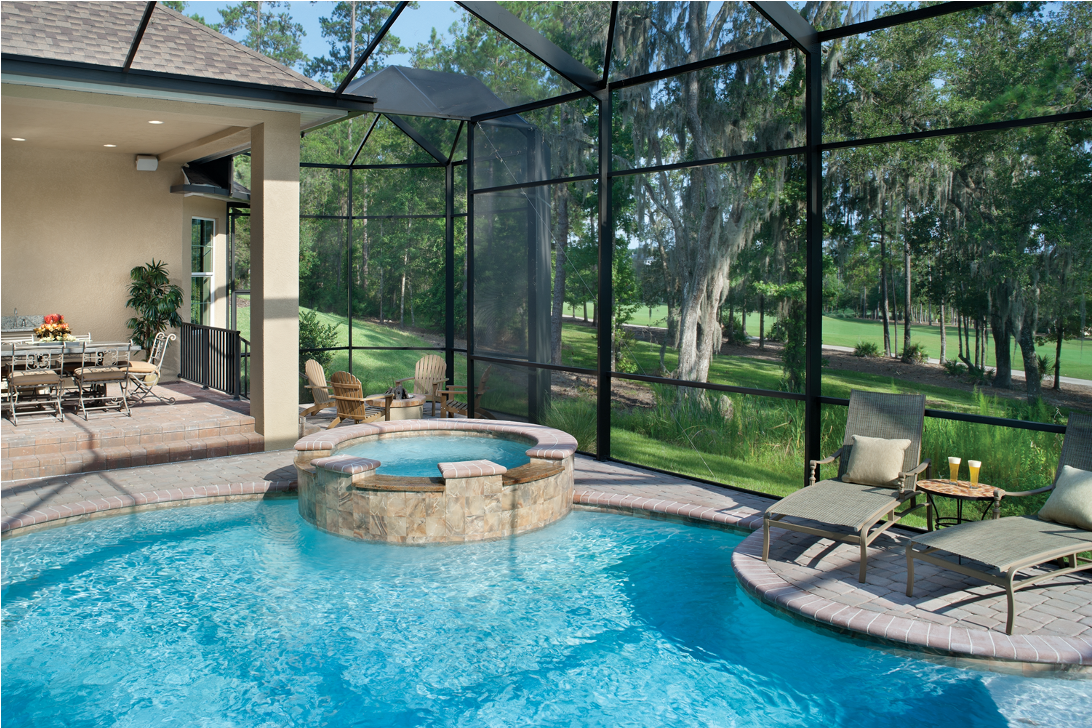 Sparkling Pool Along Golf Course Florida Home Backyard Pool Pool Hot Tub