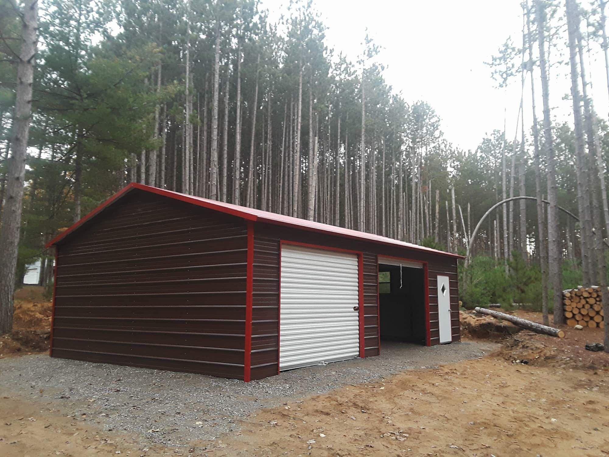 2 Car Metal Garage in Midland Michigan Midwest Steel Carports
