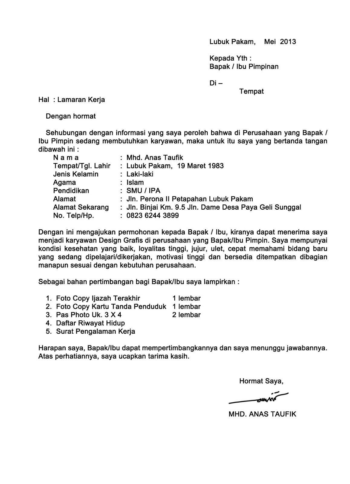 Contoh Surat Lamaran Simple