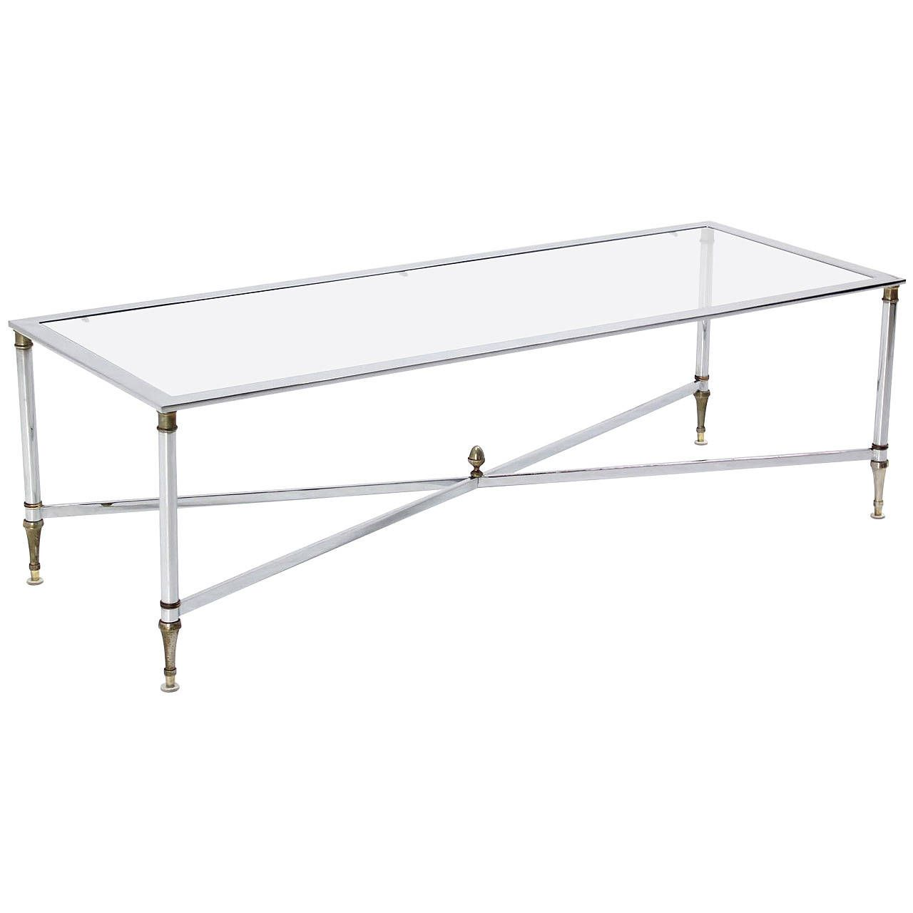Chrome Brass X Base Glass Top Long Rectangle Coffee Table Chrome - Chrome base glass top coffee table
