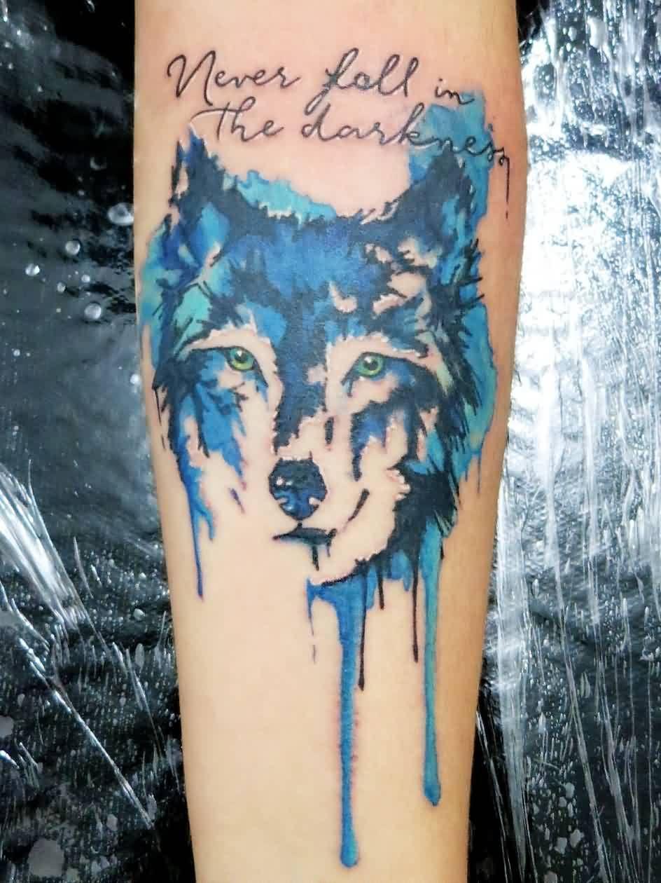 Watercolor Wolf Head Tattoo On Arm Tattoos Tattoos Watercolor
