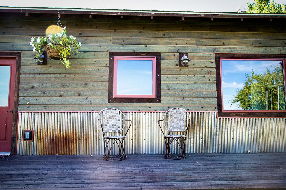 peachy mobile home deck ideas. bridger steel Rustic Exterior Remodeling ideas Other Metro corrugated metal  entry front door porch