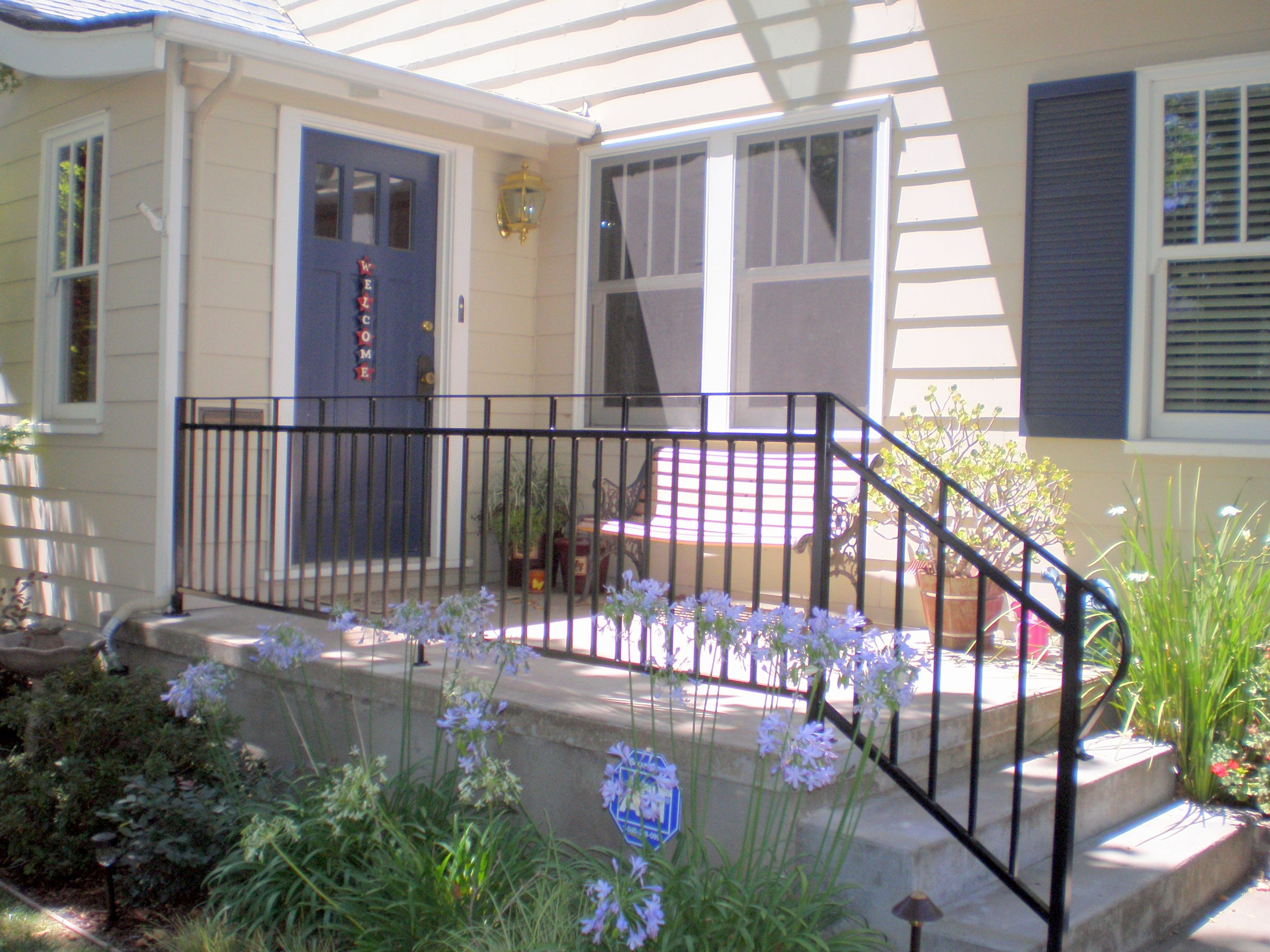 Superior Raised Concrete Patio With Railing. Iron Patio Railing Wrought Porch  Railings Raised Concrete With P