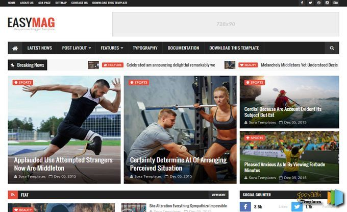 Easy Mag Blogger Template | Web graphics theme wp free | Pinterest ...