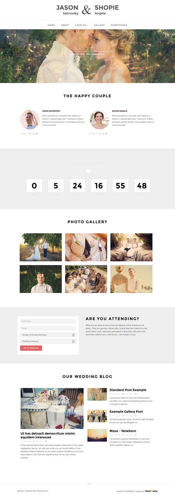 Qaween - Responsive WordPress Wedding Theme on Behance | Ideas for ...