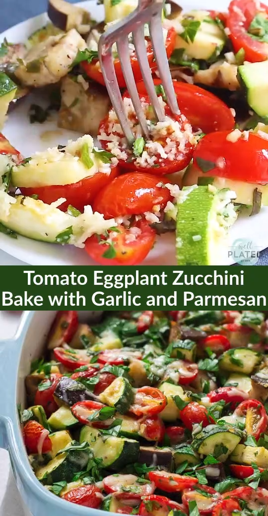 Photo of Tomato Eggplant Zucchini Bake with Garlic and Parmesan
