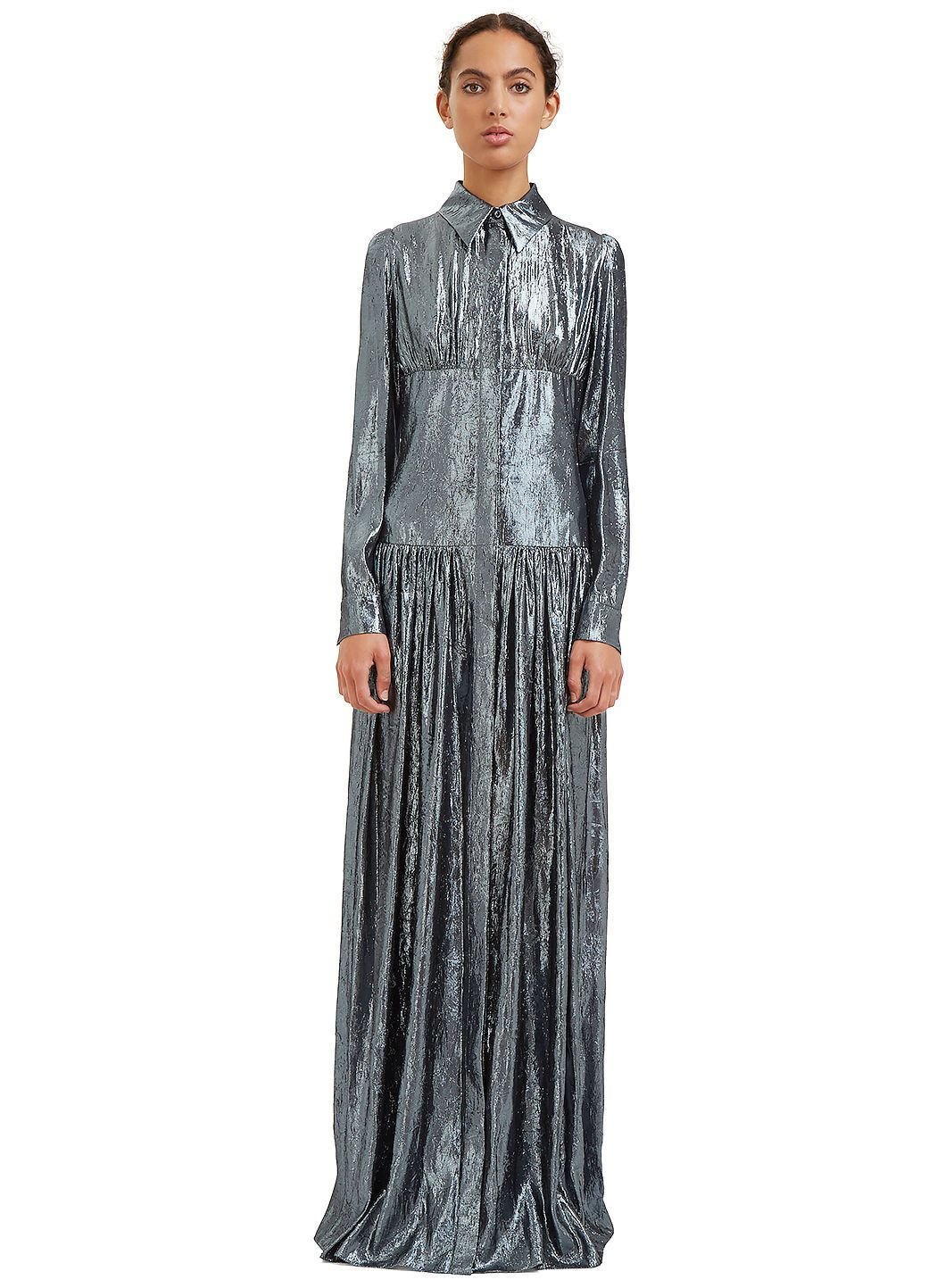 LANVIN Women'S Long Metallic Lurex Shirt Dress In Silver. #lanvin #cloth #