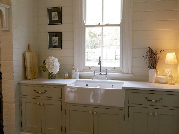 Soft Celadon Cabinets W White Countertops Glen Athan At Berry In