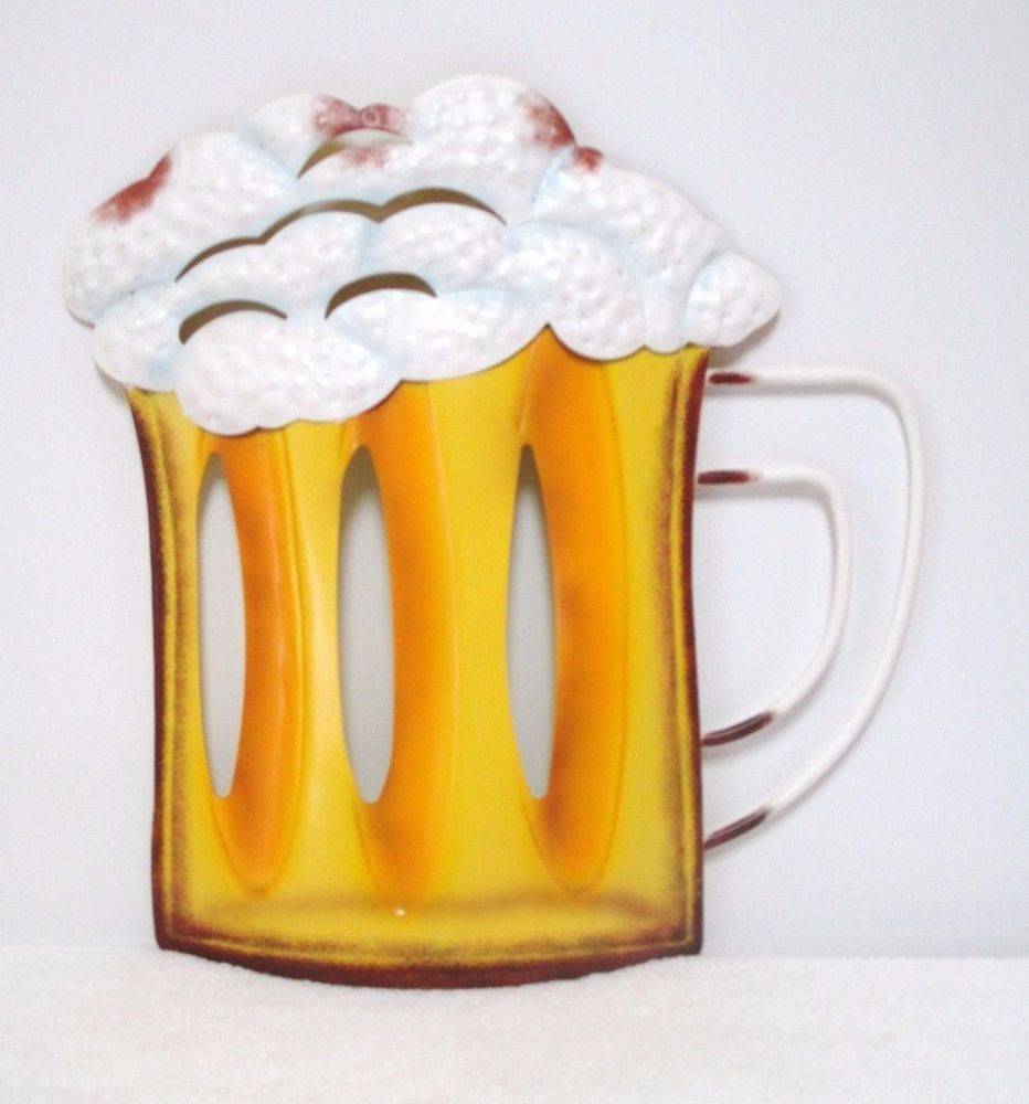 Frothy Beer Lighted Metal Beer Wall Plaque Tin Bar Sign Wall Hanging ...