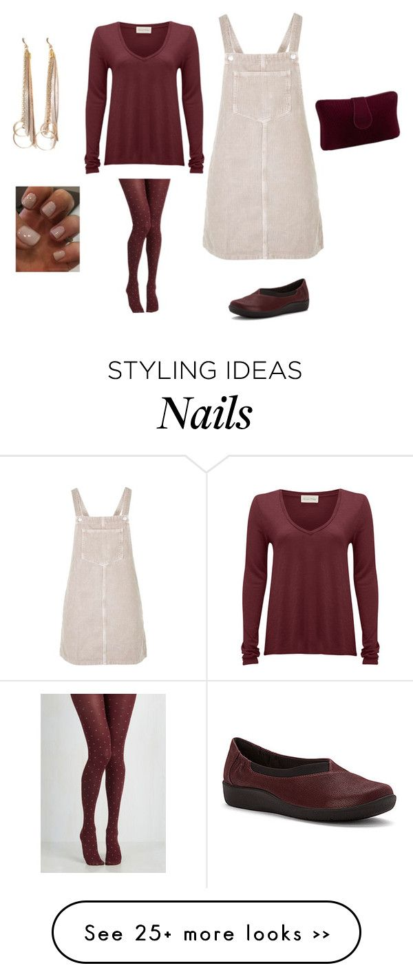 Cutecasualoutfitbeige overall dressw burgundy and beige tights