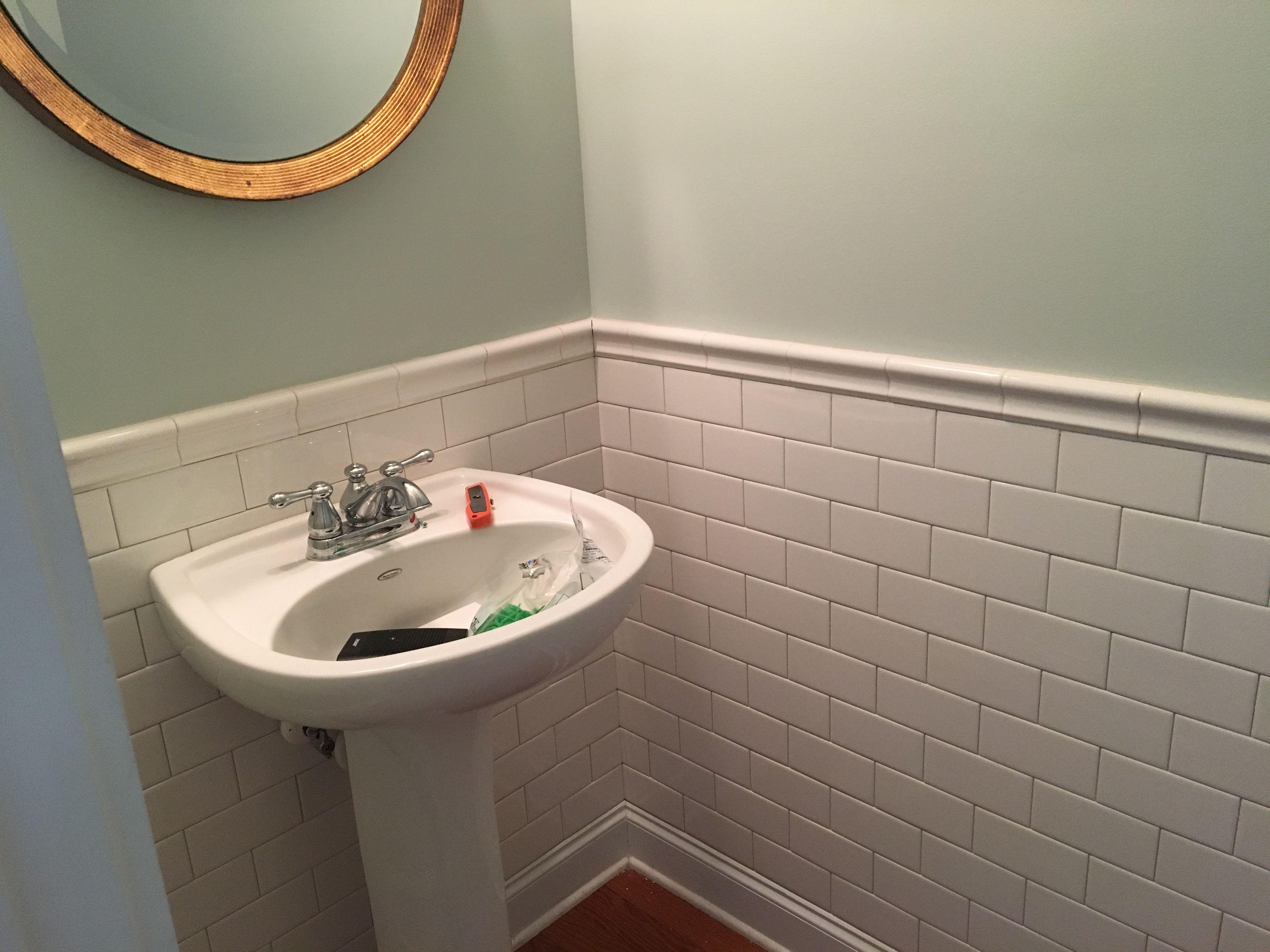 subway tile half bath with ceramic