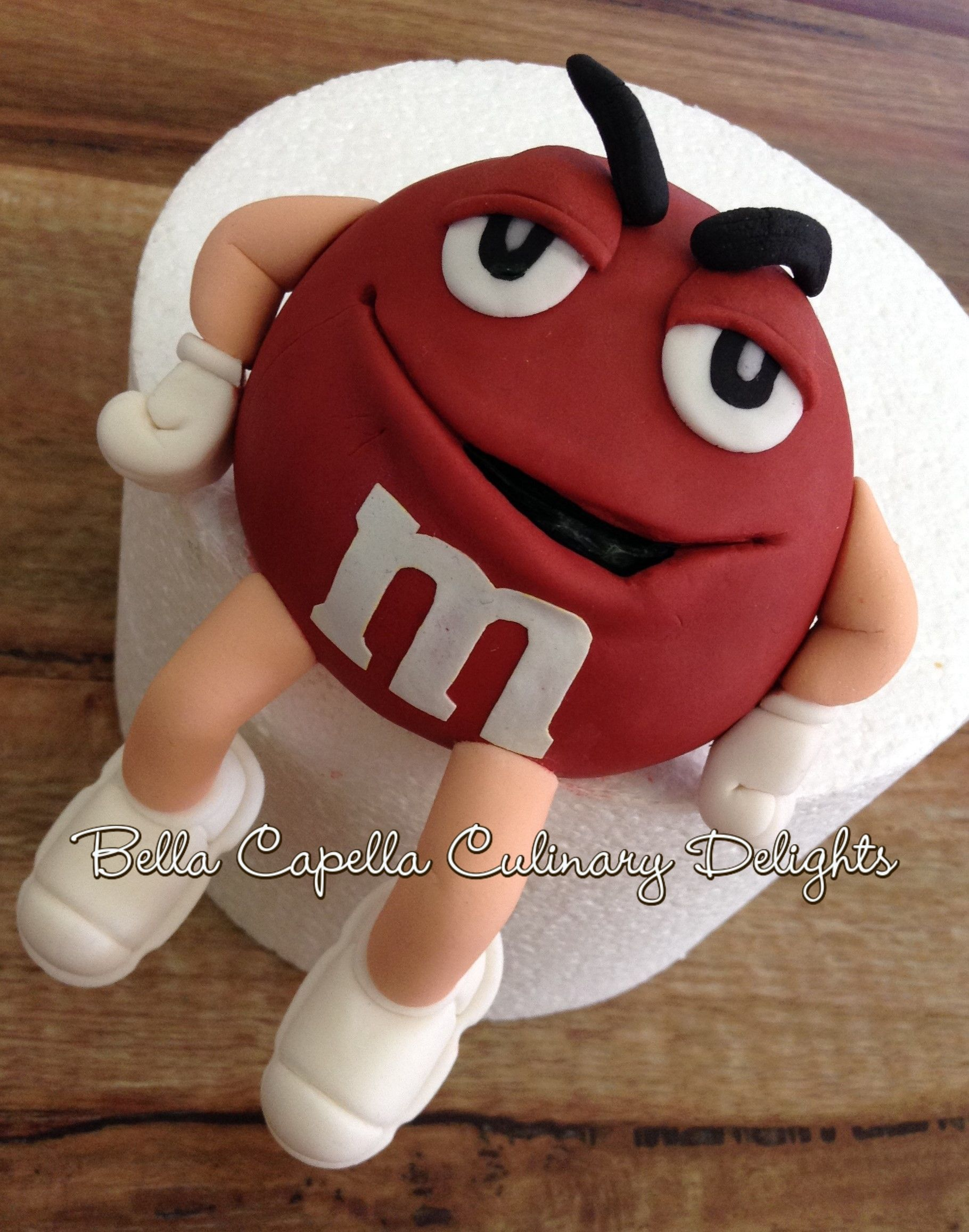 Red M&M - Gumpaste figurine for the customer to place on their own cake.