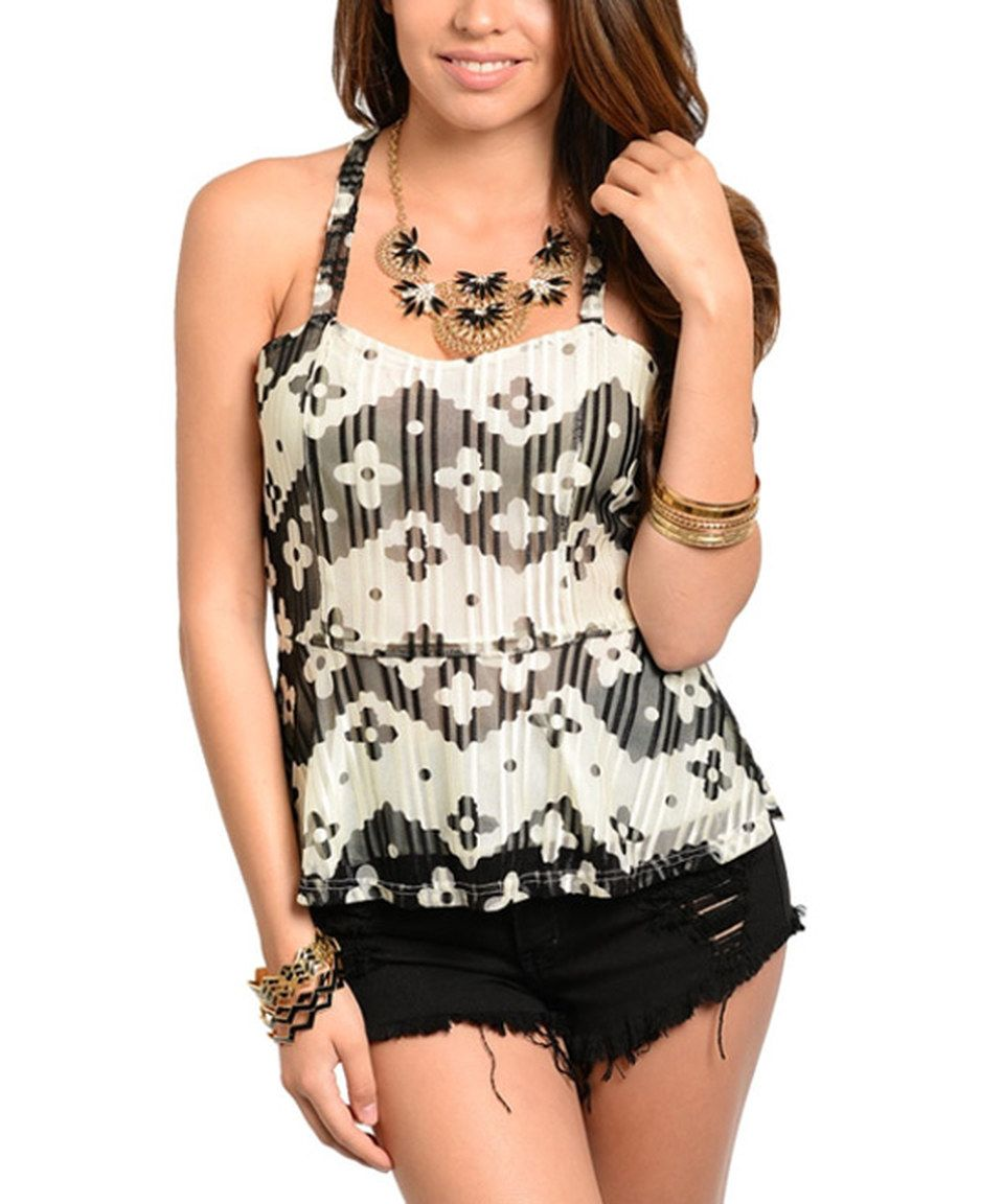 Look what I found on #zulily! Ivory & Black Floral Racerback Tank by 24|7 Frenzy #zulilyfinds