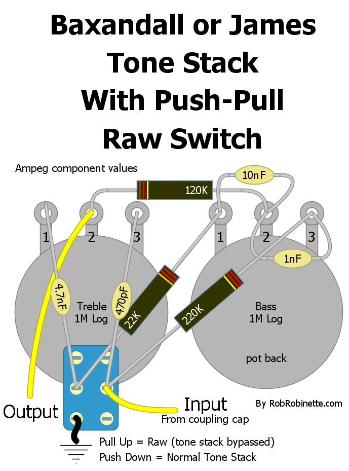 Baxandall or James tone stack with push-pull raw switch by ...