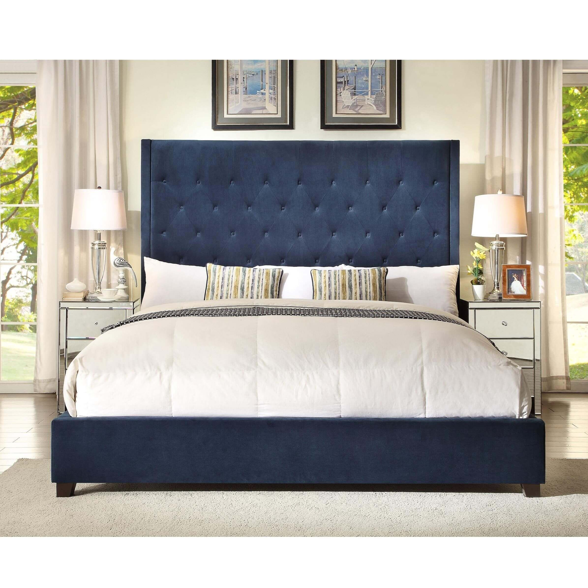 5286 Reese Navy Tufted Bed Discontinued Upholstered Beds