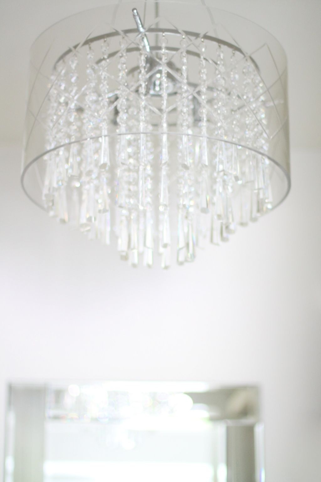 Gorgeous Etched Glass Crystal Chandelier In A Walk In Closet