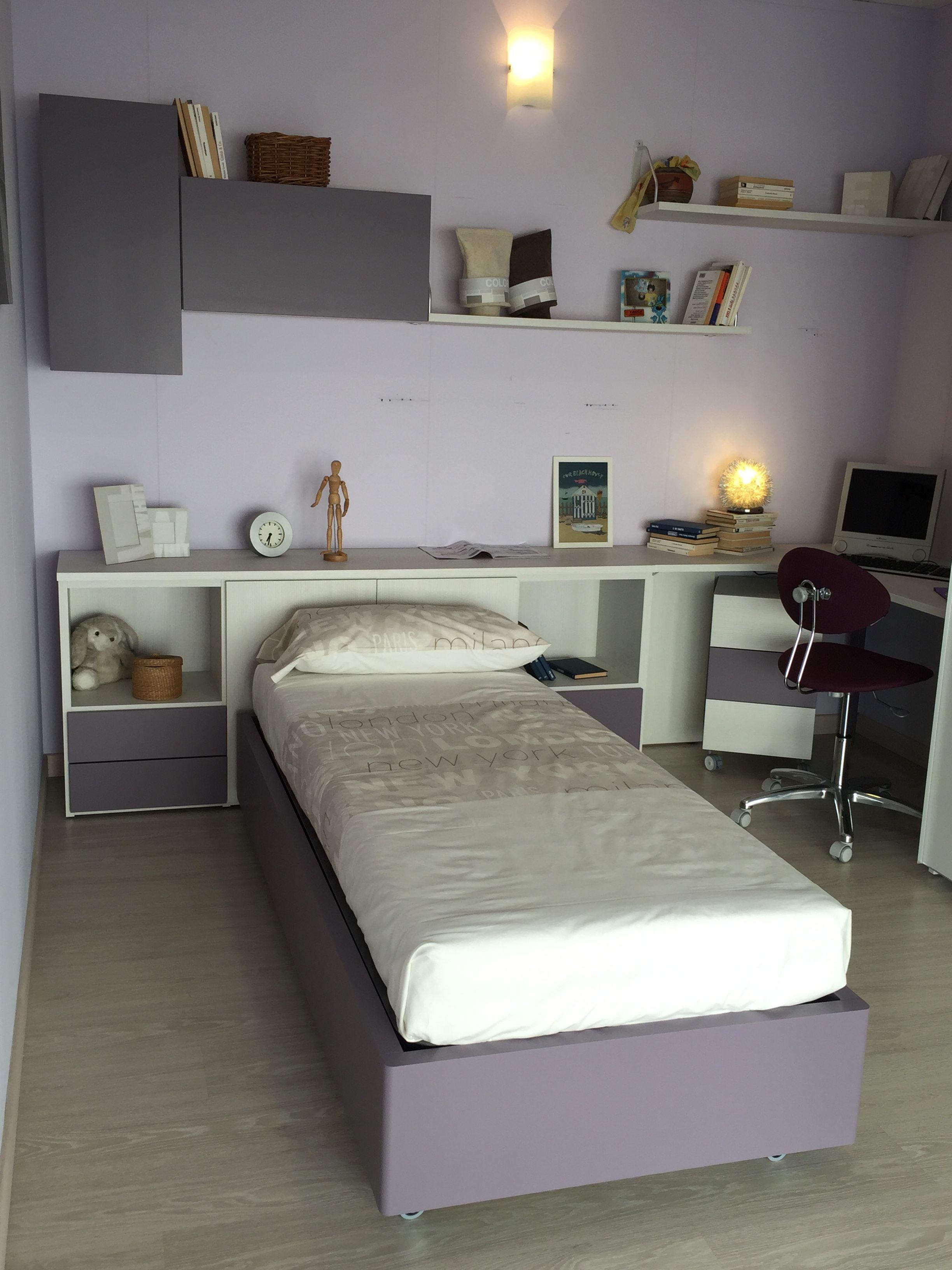Cameretta moretticompact in laminato colore betulla e parti laccate colore mora letto singolo - Camera letto singolo ...