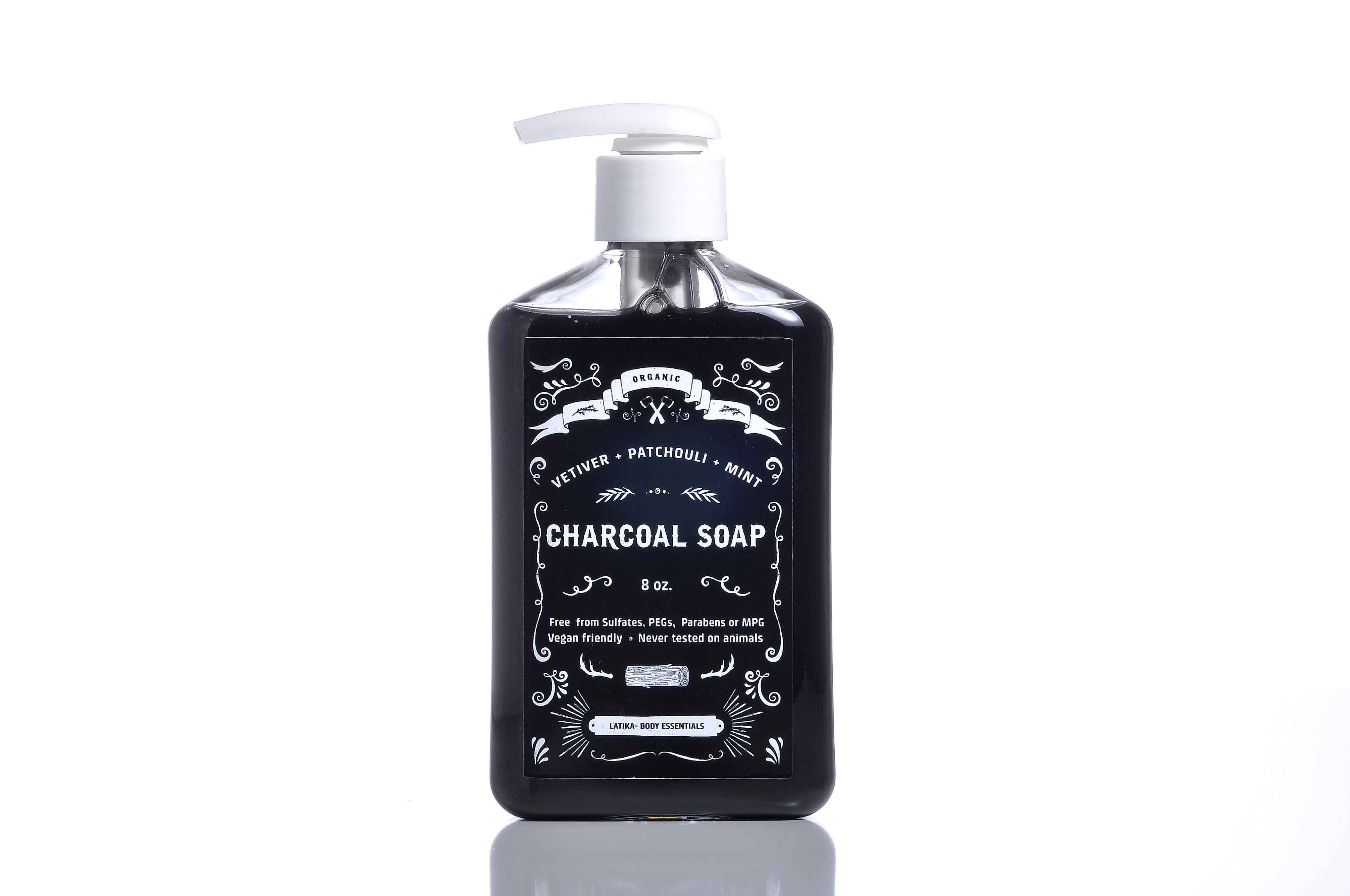 9763dc7ef73b7 Organic liquid charcoal soap, scented with a unique blend of Vetiver ...