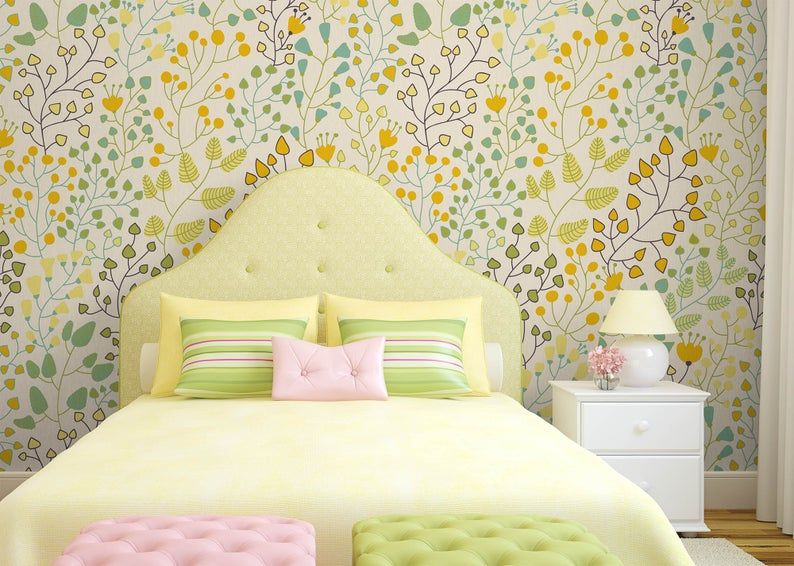 Green Leaves Yellow Floral Removable Wallpaper Nursery Decor Etsy Removable Wallpaper Nursery Nursery Wallpaper Neutral Wallpaper