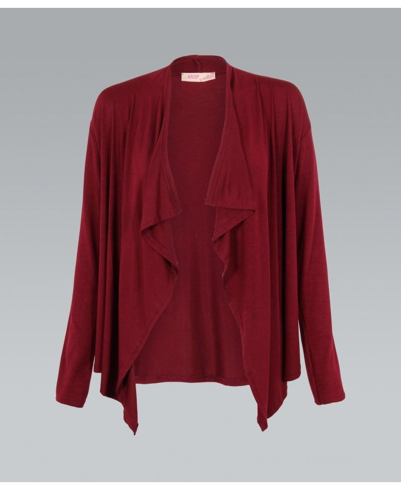 RED JERSEY WATERFALL OPEN CARDIGAN// #ustrendy #red #open #sweater ...