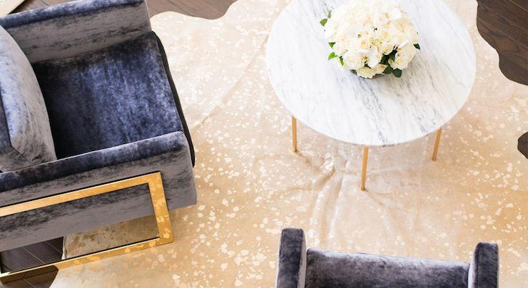 Modern Glam Living Room Milo Baughman Blue Velvet