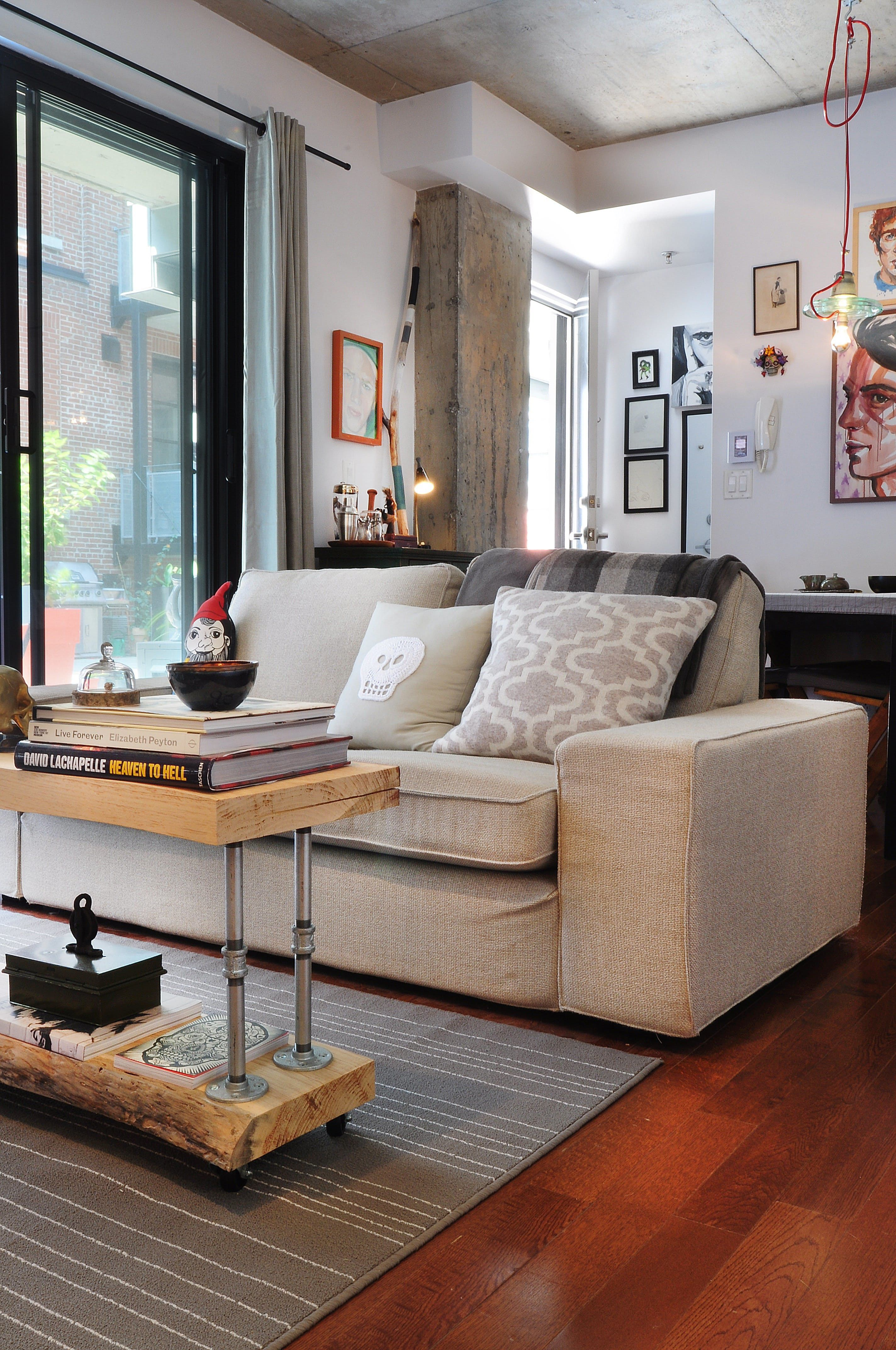 Julienu0027s Small Studio Apartment Bursting With Art, DIY Projects U0026 Quirky  Objects U2014 House Tour