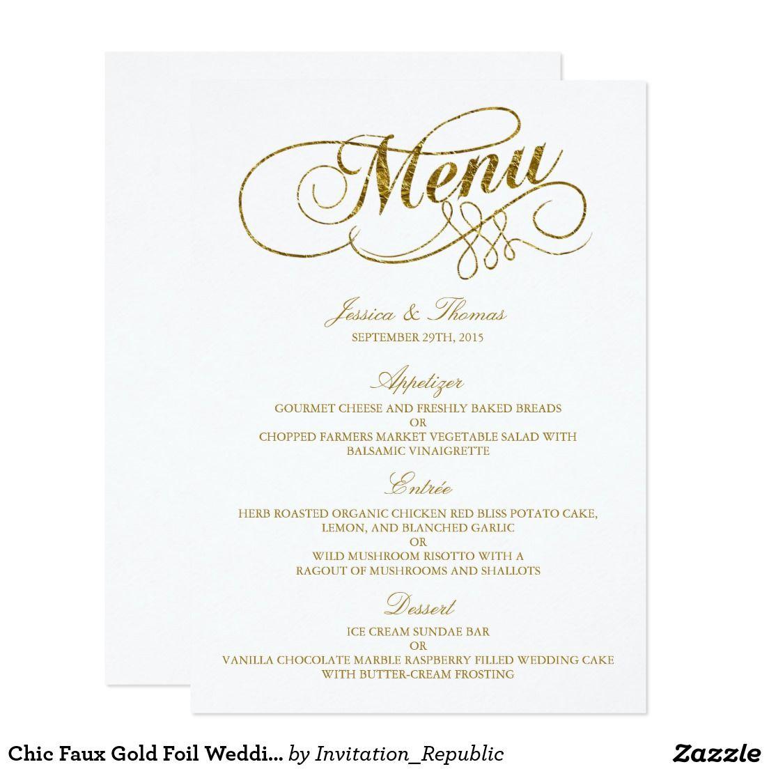 Chic Faux Gold Foil Wedding Menu Template Card | Zazzle | Pinterest