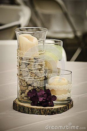 rustic centerpiece perfect for our geology themed wedding maybe