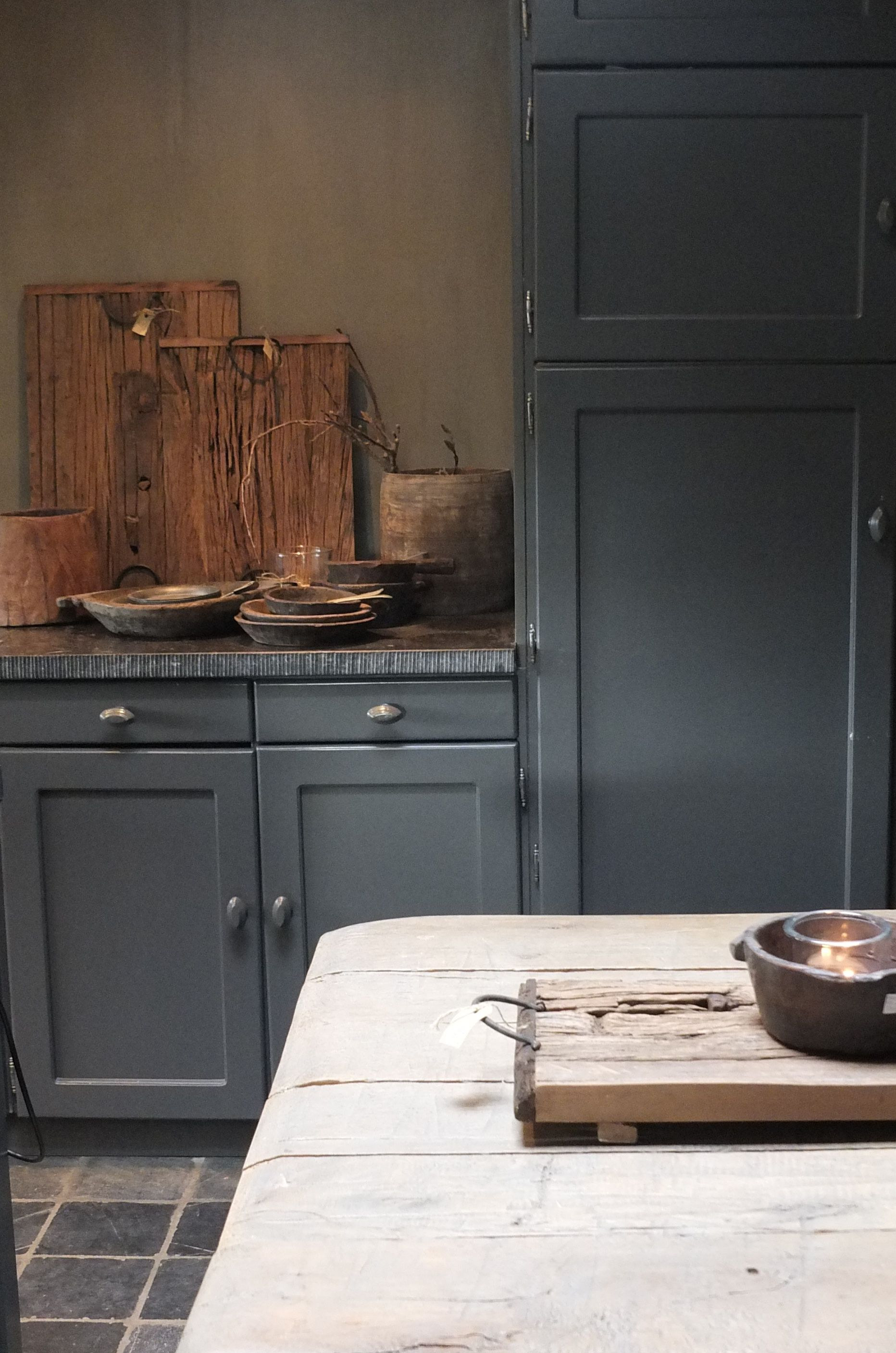 soft deep country blue kitchen with beautiful soapstone countertop ...