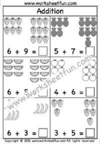 Addition Worksheet – Sums up to 20