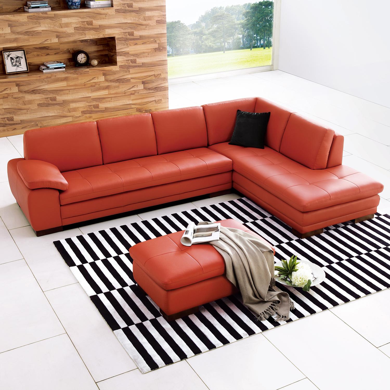 J&M Furniture Capri 625 Italian Leather Sectional Pumpkin w Right