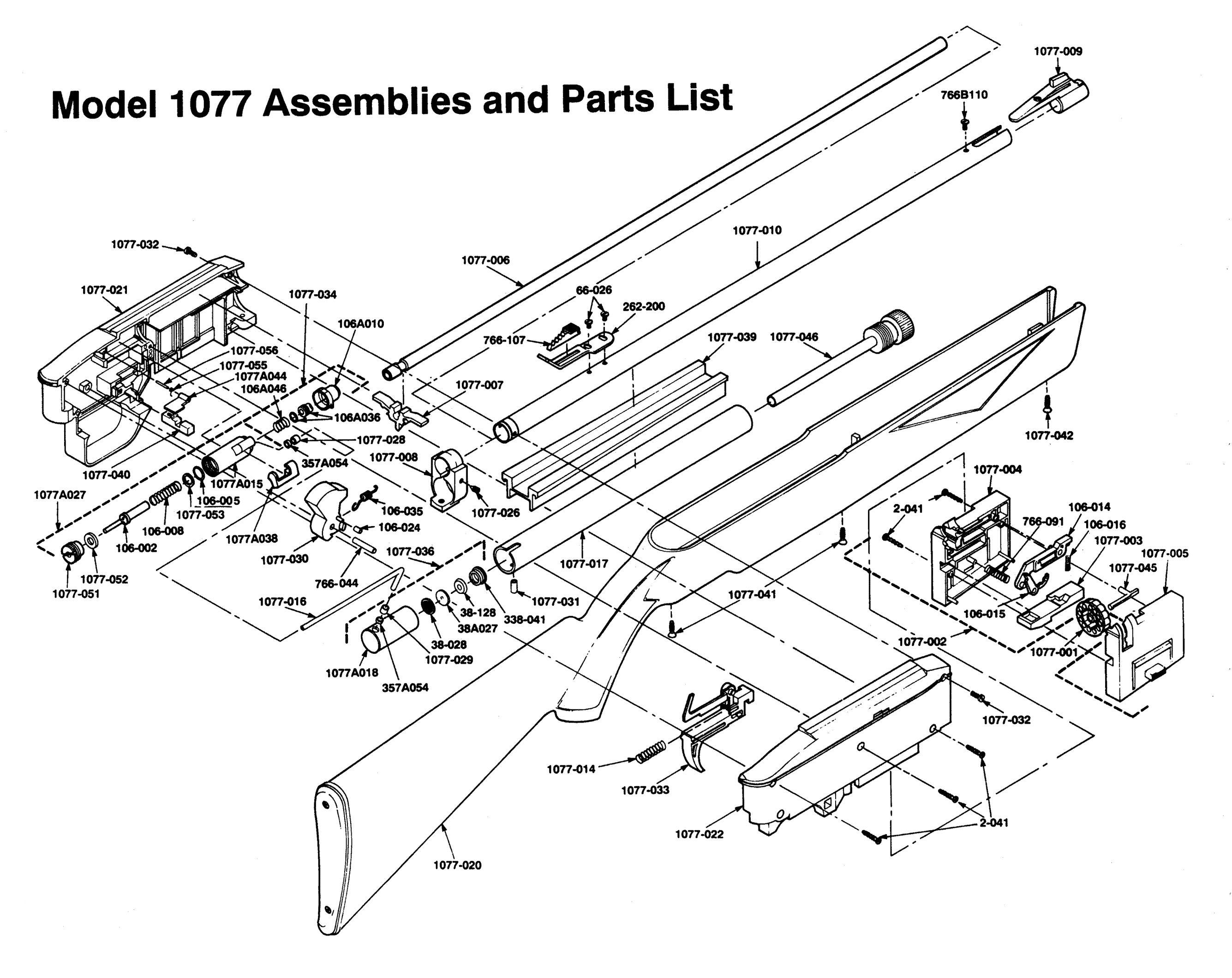 crosman model 1077 assemblies and parts list